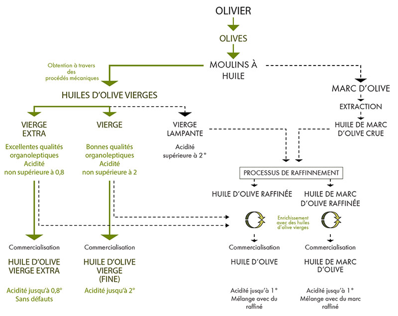 Chart of classification of virgin and refined olive oils.